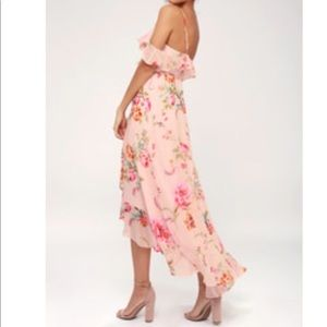 LULUs - Ella Blush Pink Floral Midi Dress - Size M